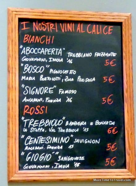 Wine board at Osteria Del Cappello in Bologna