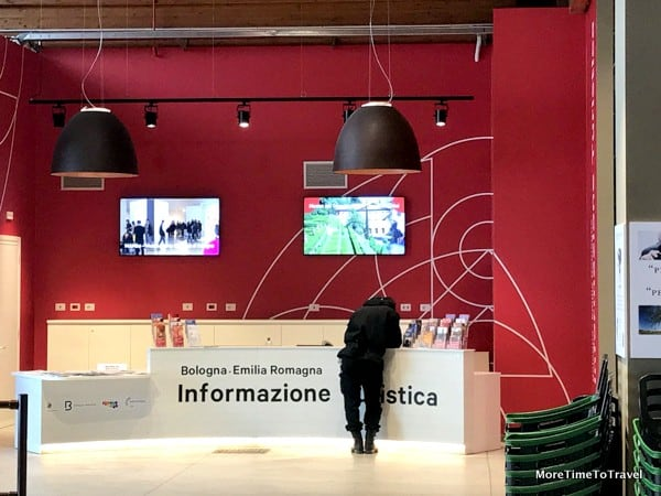 Tourist information booth at FICO operated by Emilia Romagna Tourism and Bologna Welcome