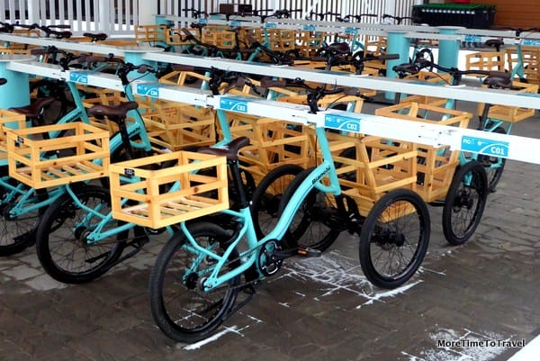 FICO-branded Bianchi tricycles wait for visitors outside FICO Eataly World