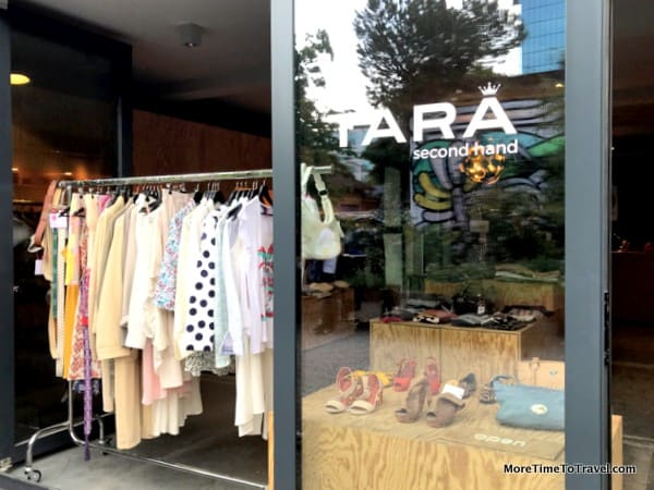 A trendy second-hand clothes shop in the courtyard