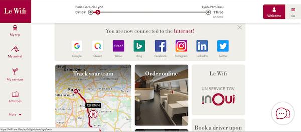 Screenshot of Wi-Fi homepage on the TGV train