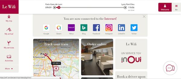 Screenshot of Wi-Fi homepage on the TGV train