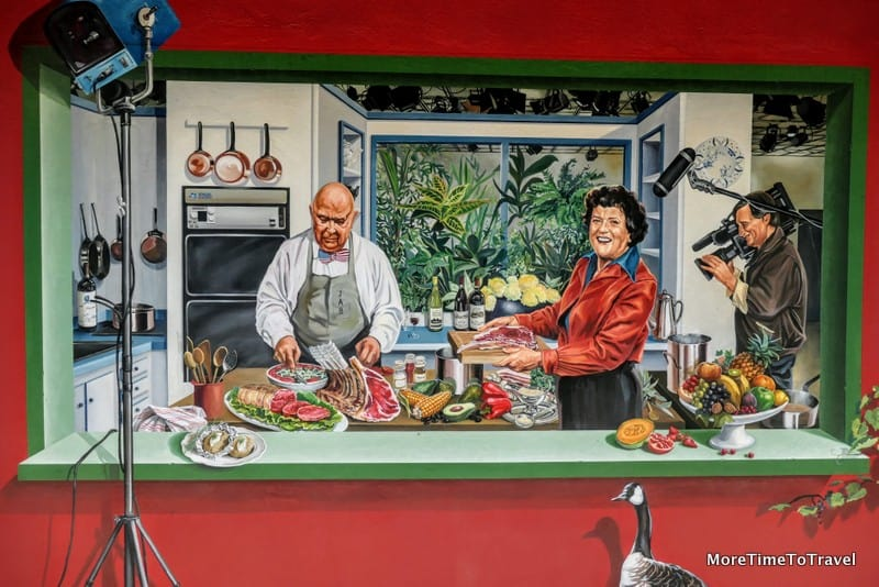 Mural of Paul Bocuse with Julia Childs at the Bocuse restaurant in Collonges