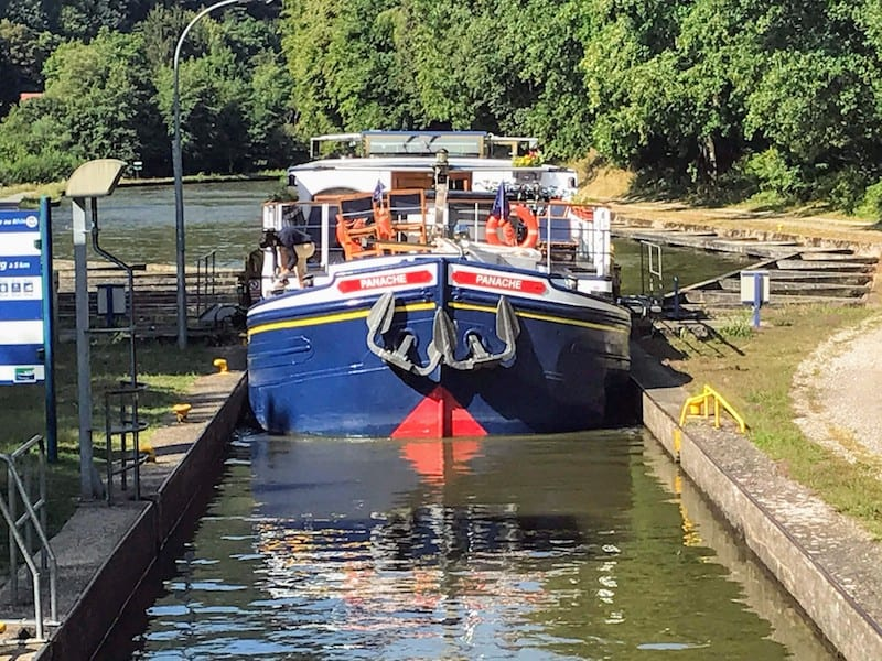 Barge Cruise Through Alsace & Lorraine - Panache passing through a lock in Saverne, France