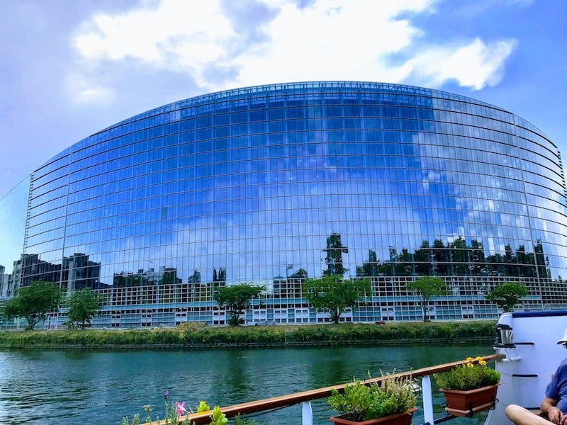 One day in Strasbourg: View of the European Parliament from the Ill River