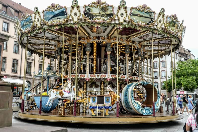 One Day in Strasbourg: The ornate carousel on Gutenberg Square