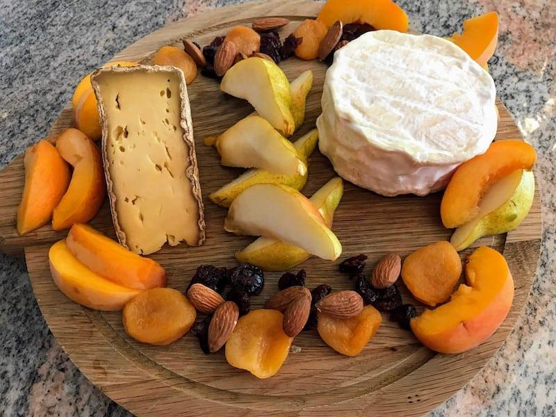 A cheese course follows dinner