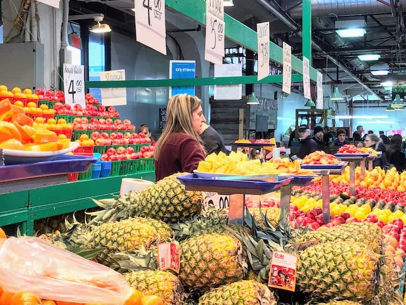 Local and imported fruits at the Jean Talon Market