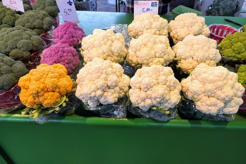Colorful cauliflowers at the Jean Talon Market