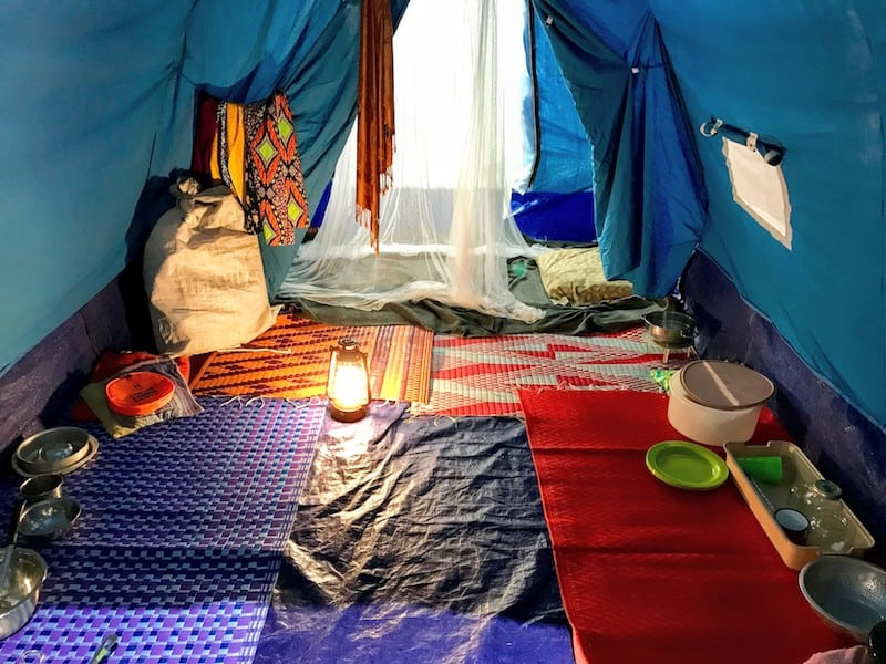 Inside a refugee tent on display at Refuge Canada exhibit