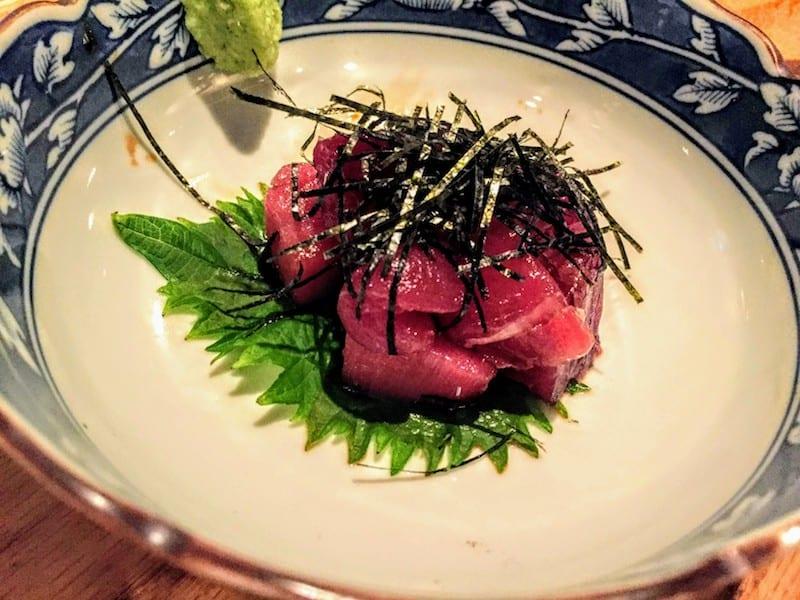 Maguro Butsu, diced fresh tuna sashimi with soy sauce