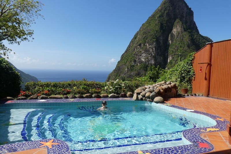 A private plunge pool at Ladera Resort in St. Lucia