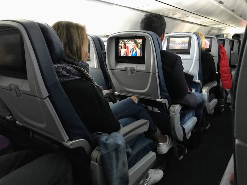 Thin but comfortable padding on seats in Delta Economy Cabin