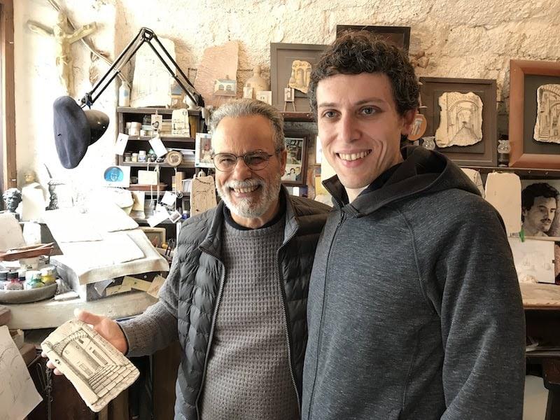 Croci and Andrew in the Bottega D'Arte in Ostuni