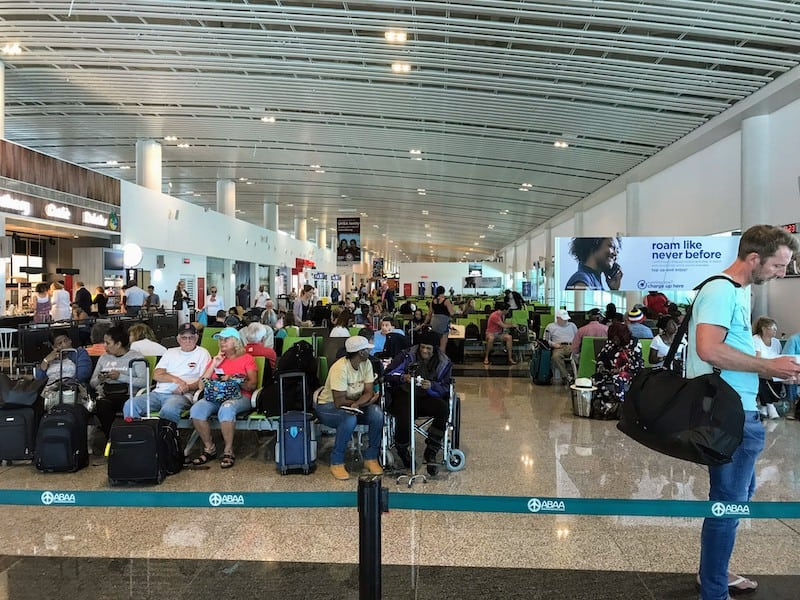 Crowded seating in the regular terminal (what we avoided)