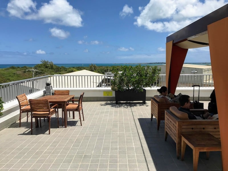 View from the breezy deck of the Executive Lounge at Antigua Airport