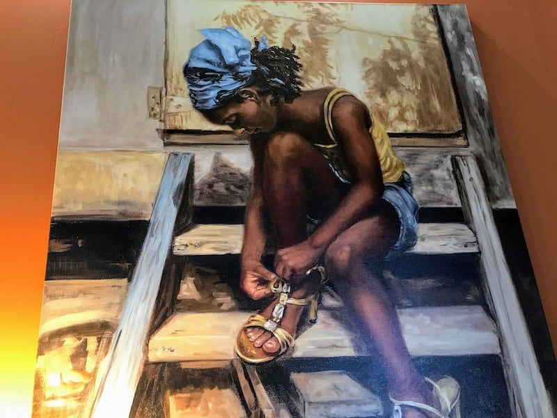 One of the evocative paintings by a local artist in the Executive Lounge in Antigua Airport