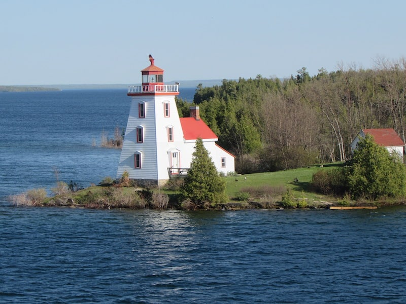 Strawberry Island Lighthouse on a cruise on the Great Lakes on Victory I