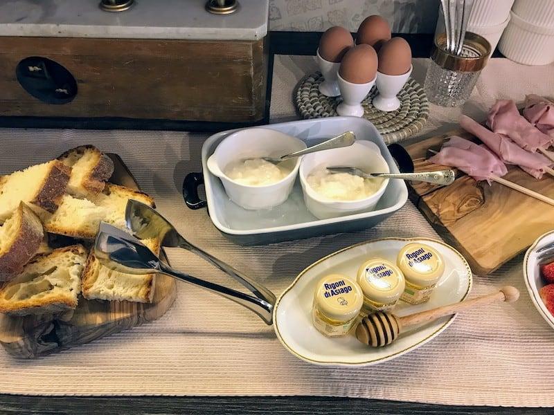 Stracciatella cheese on the buffet table at Sotto Le Commerse in Locorotondo