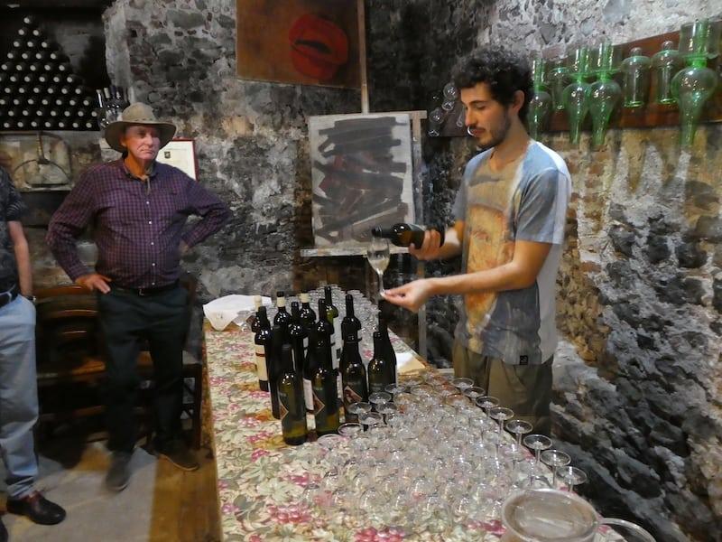 Italian wine samples in 17th-century farmhouse