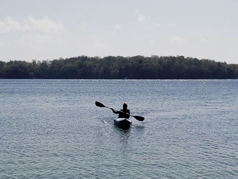 The author kayaking on Elkhart Lake
