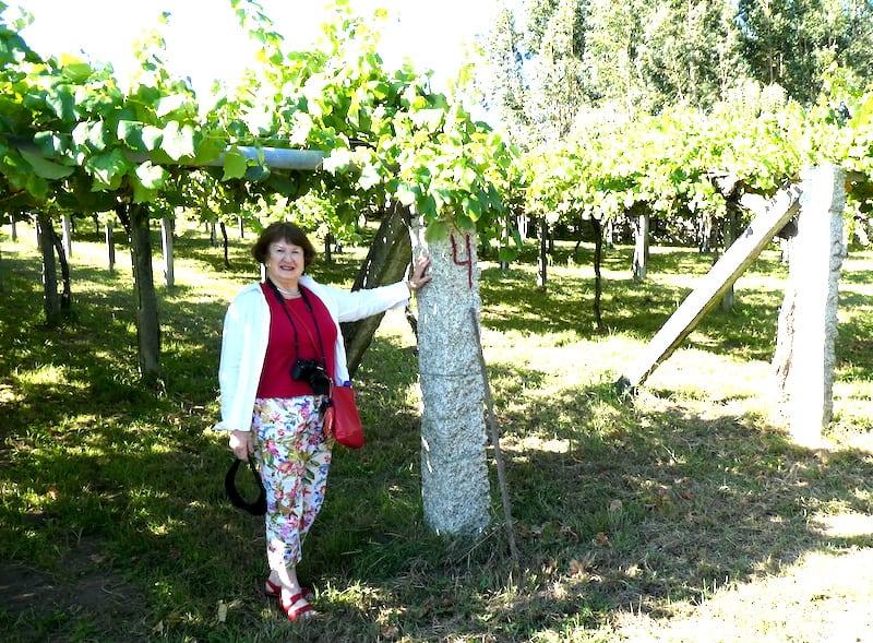 Sandra Nowlan visiting a vineyard in the Galician region of Spain