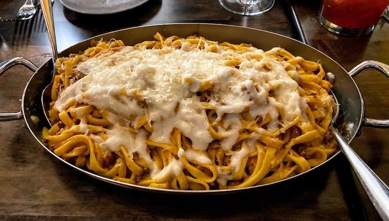 Tagliatelle Bolognese with fontina fonduta