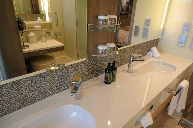 Haven on Norwegian Encore: Double-vanity sink with L'Occitane Toiletries