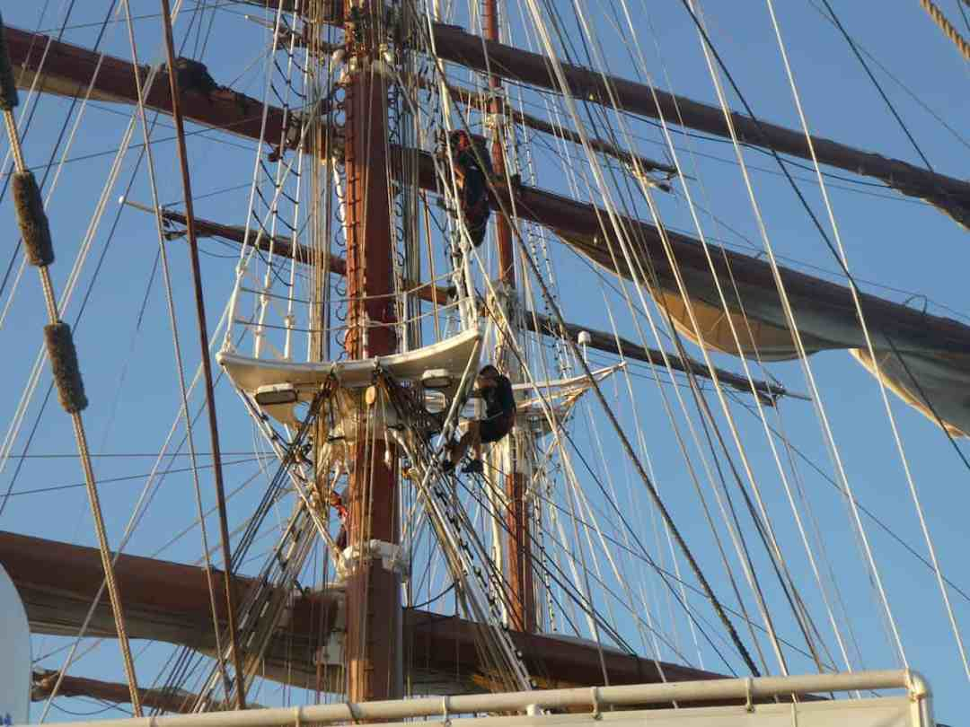 An adventure on land and sea: Crew climbing the masts on Sea Cloud