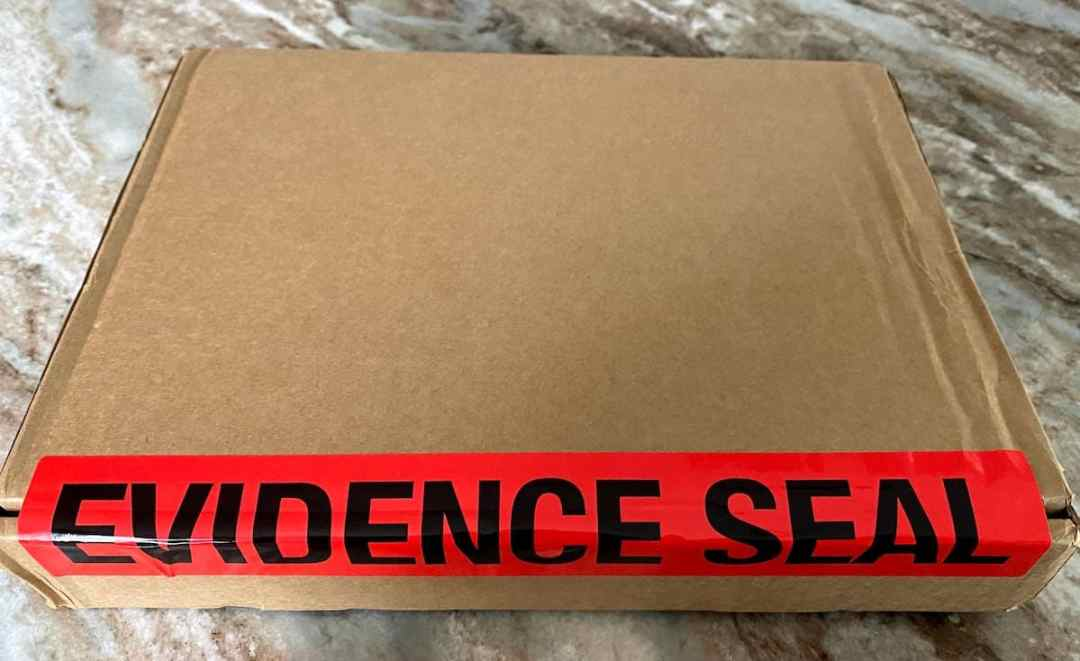 The virtual cruise evidence box that arrived in the mail.