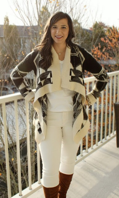 Fall Transitional Outfit: Aztec Cardigan, White Skinny Jeans and Suede Heeled boots