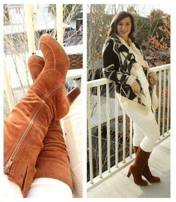 Suede Boots for fall with Aztec Cardigan and White Skinny Jeans