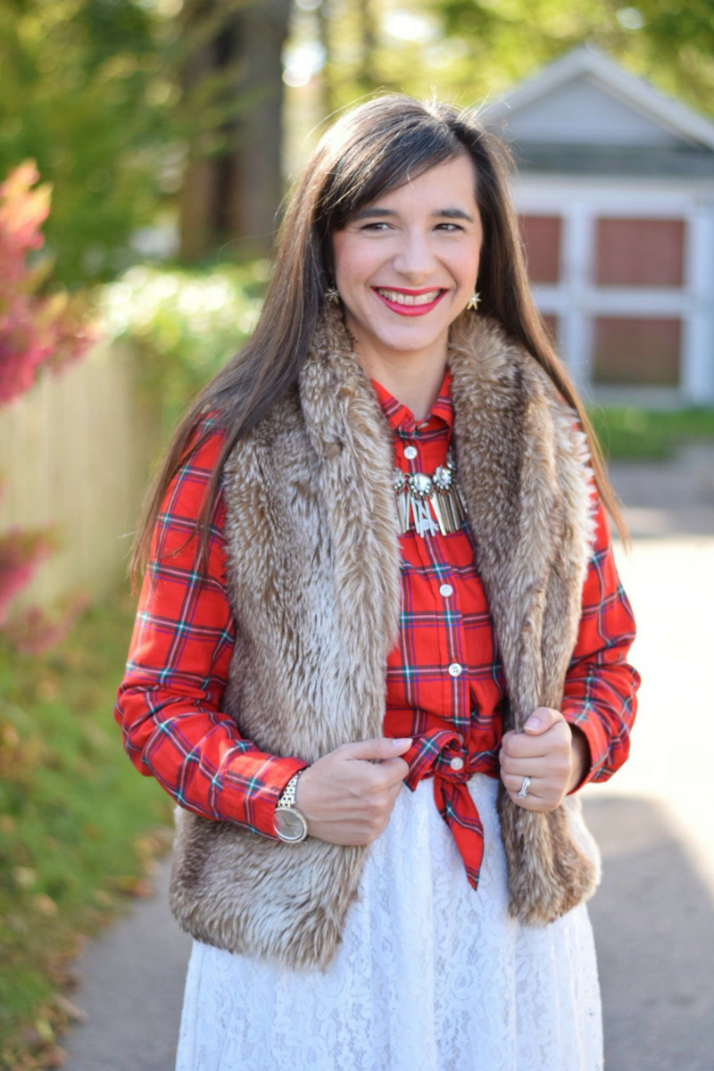 Casual Holiday Outfit Plaid Top_Faux Fur Vest