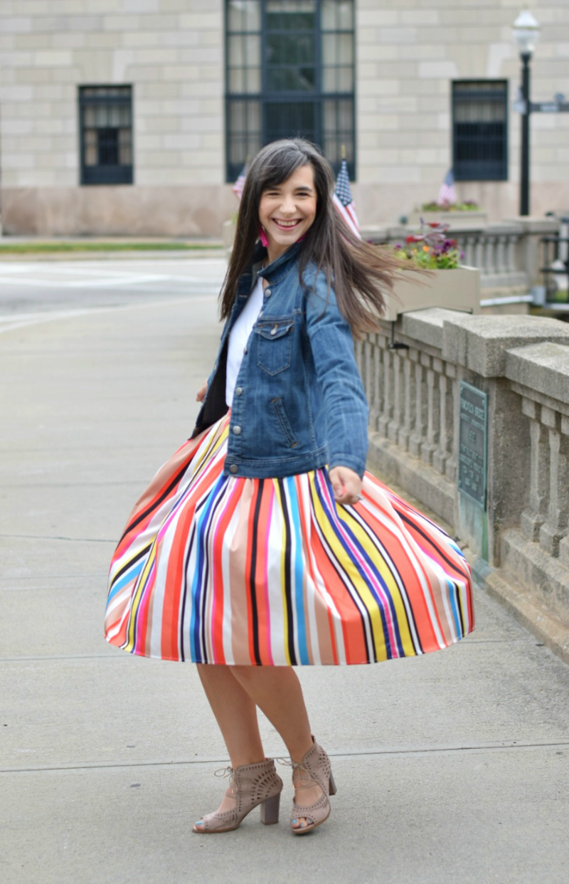 Classroom Outfit Multicolored Midi Skirt Denim Jacket