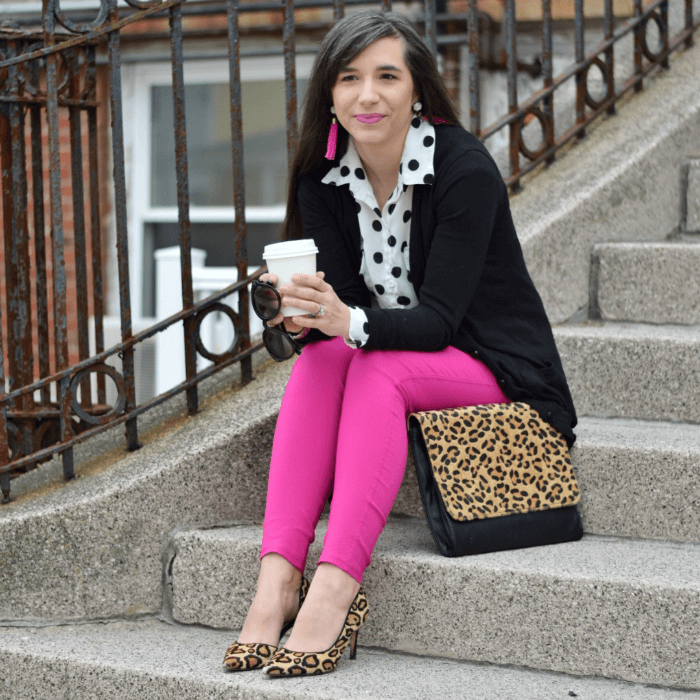 Leggings for work polka dot top Leopard accessories teacher style