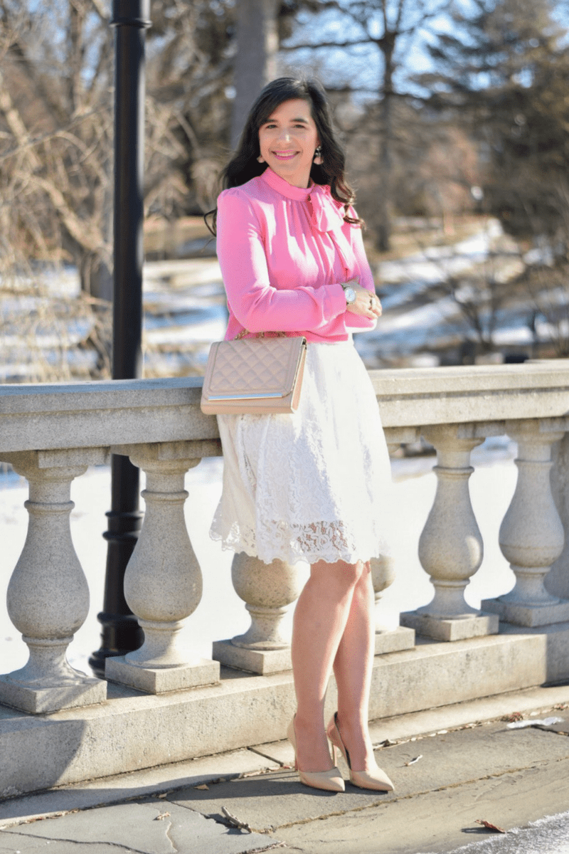 Pink Bow Blouse_Lace skirt_Valentine's Day Outfit_Nude Pumps_Teacher Style