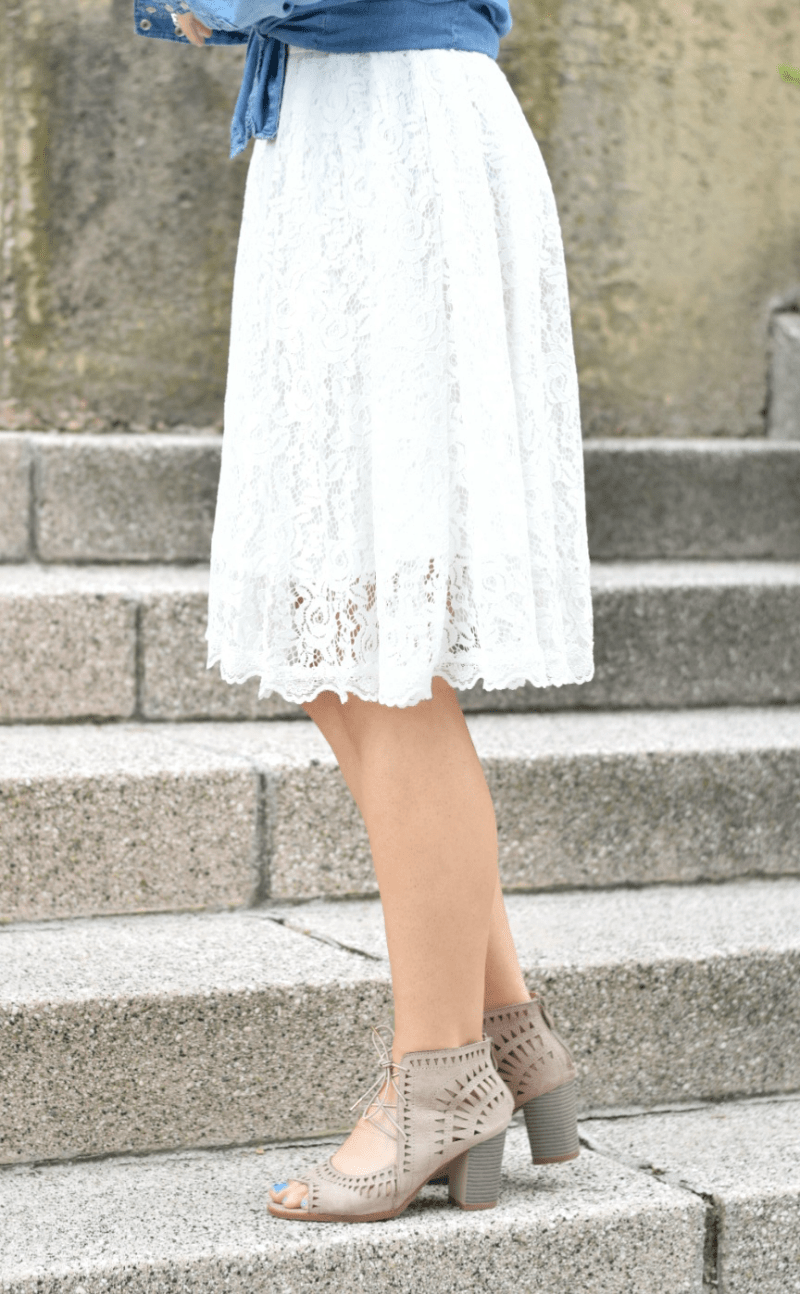 White Lace Dress Chambray Teacher Outfit Laser Cut Block Heel