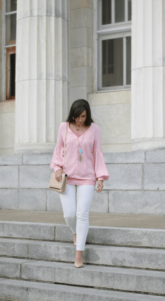 cute teacher outfit-pink blouse-white skinny jeans-nude quilted crossbody bag