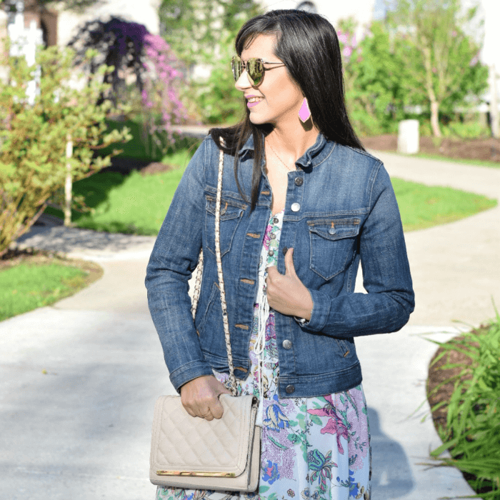 nude quilted crossbody jean jacket floral maxi dress spring outfit