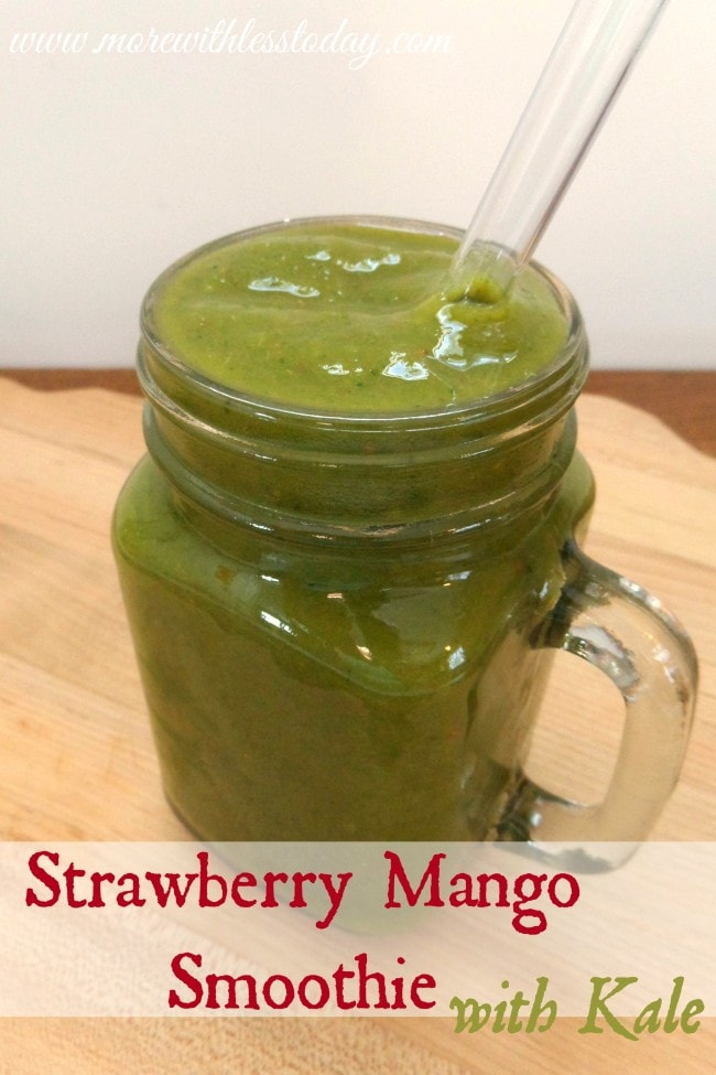 Strawberry Mango Smoothie - A healthy and delicious recipe with Kale. Don't be put off by the color, it's so good!