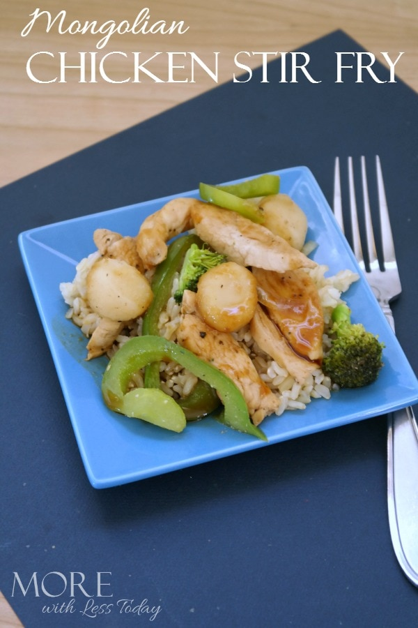Looking for an easy chicken dinner idea? Try this Mongolian Chicken Stir Fry recipe and get good food on the table fast tonight!