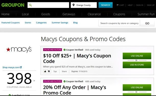 macy's groupon coupons online