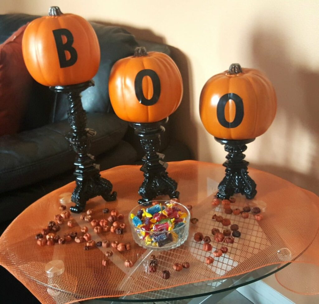 Easy and Fun DIY Halloween Decor, Goodwill decor, Halloween candlesticks, Goodwill of Orange County