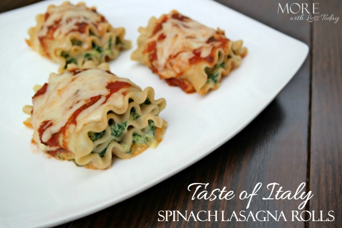 Taste of Italy® Spinach Lasagna Rolls - More with Less Today - Easy and Delicious Taste of Italy Lasagna Rolls with Spinach and Three Cheeses, easy recipe