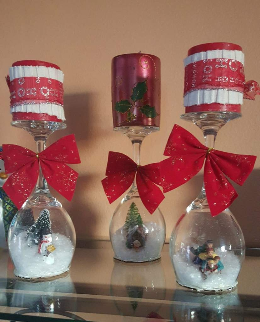 DIY snowglobes inside wineglasses, snowglobe craft, Goodwill of Orange County blog, repurposed wineglasses craft