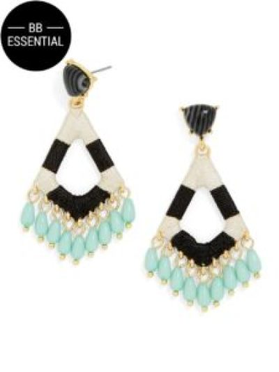statement earrings in black, white and blue