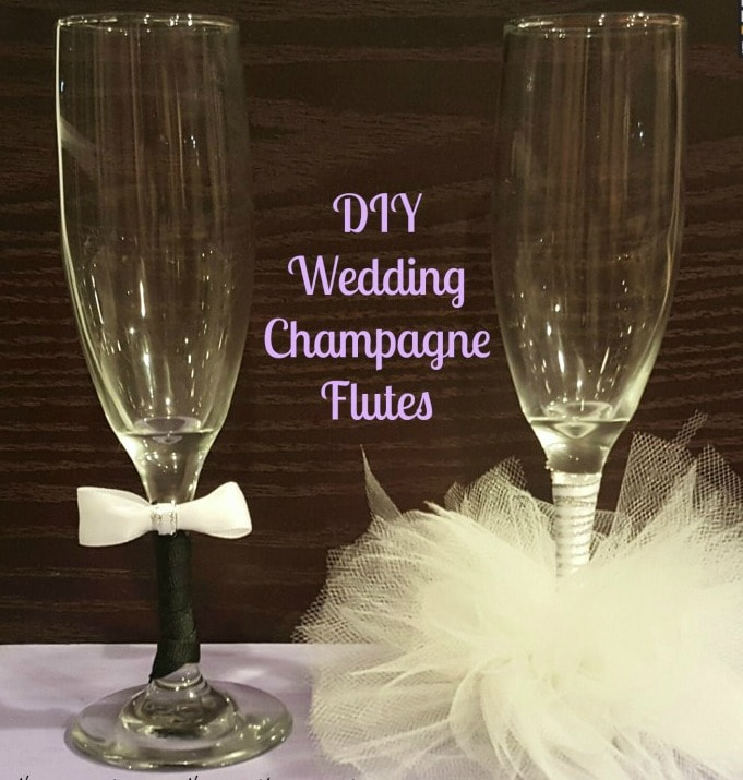 How cute are these Bride and Groom champagne glasses for the wedding toast? You can also make these DIY toasting flutes for a bridal shower.