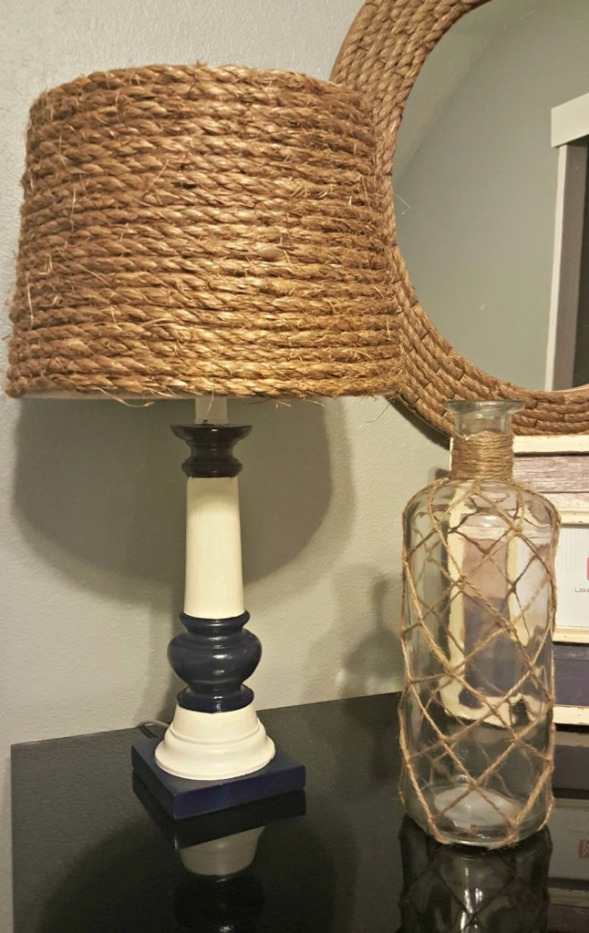Do you have an old lamp that has seen better days? Here's how to turn an old lamp into nautical decor for your home using rope.