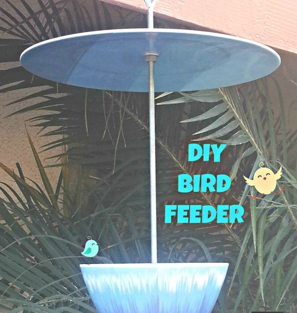 Enjoy the birds from your window and make this easy DIY bird feeder from recycled plates and cups. You can find what you need at the thrift store.