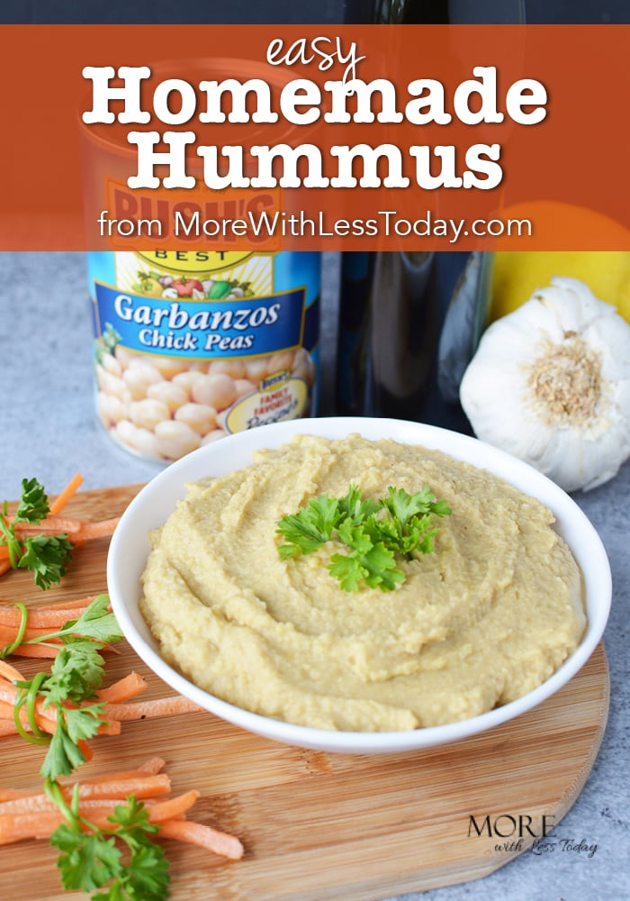 Have you ever made homemade hummus? It's so easy and is delicious served with fresh veggies. Try our easy homemade hummus Recipe made with Garbanzo beans.